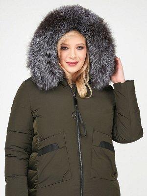 Женская зимняя молодежная куртка большого размера цвета хаки 92-955_8Kh