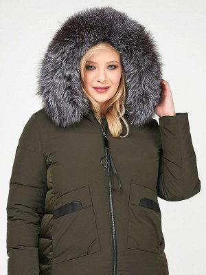 Куртка зимняя женская молодежная цвета хаки 92-955_8Kh