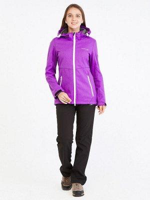 Женский осенний весенний костюм спортивный softshell фиолетового цвета 019077F