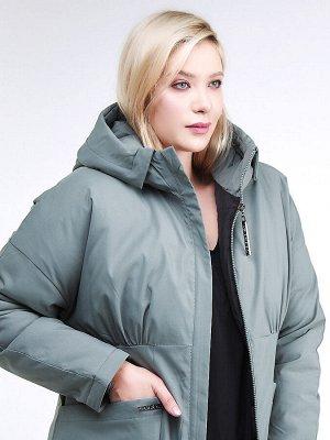 Женская зимняя классика куртка большого размера цвета хаки 110-905_7Kh