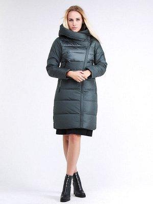 Женская зимняя молодежная куртка стеганная болотного цвета 870_06Bt