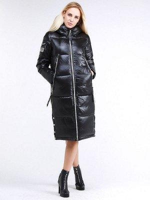 Женская зимняя классика куртка с капюшоном черного цвета 1962_01Ch