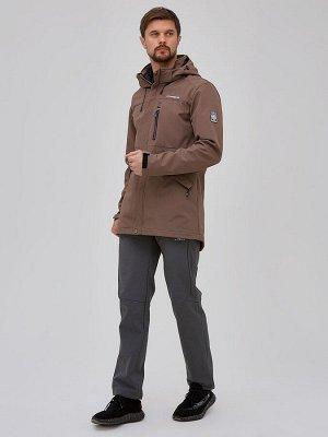 Мужской осенний весенний костюм спортивный softshell коричневого цвета 02018K