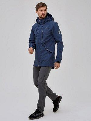 Мужской осенний весенний костюм спортивный softshell синего цвета 02018S