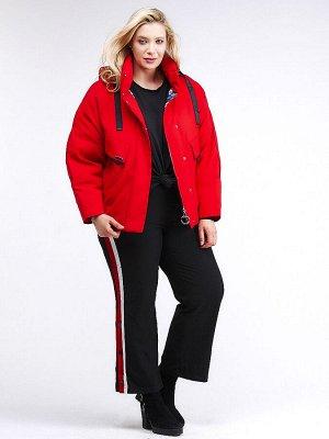 Женская зимняя классика куртка большого размера красного цвета 74-903_4Kr