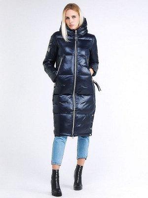 Женская зимняя классика куртка с капюшоном темно-синего цвета 1962_02TS