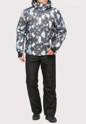 Мужской зимний костюм горнолыжный серого цвета 018108Sr