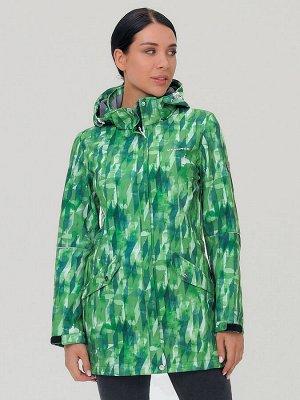 Женская осенняя весенняя парка softshell зеленого цвета 19221Z