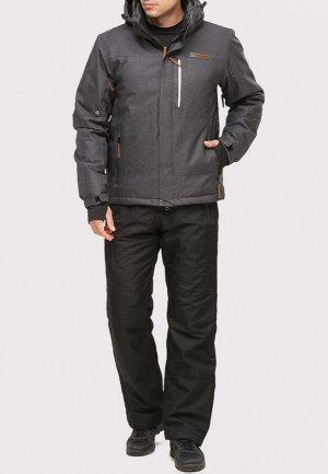 Мужской зимний костюм горнолыжный темно-серого цвета 01901TC