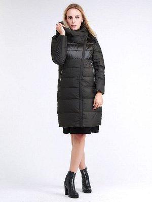 Женская зимняя молодежная куртка стеганная темно-серого цвета 870_13TC