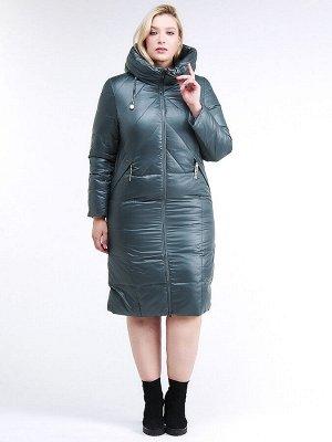 Женская зимняя классика куртка большого размера темно-зеленного цвета 108-915_16TZ