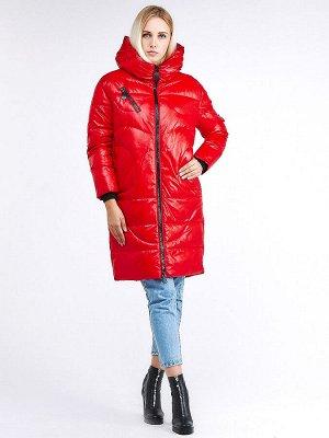 Женская зимняя молодежная куртка с капюшоном красного цвета 9131_14Kr