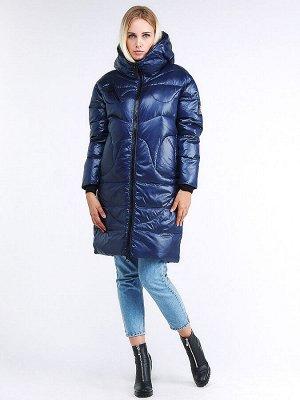 Женская зимняя молодежная куртка с капюшоном темно-синего цвета 9131_22TS