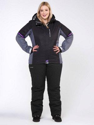 Женский зимний костюм горнолыжный большого размера черного цвета 01934Ch