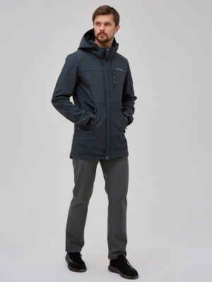 Мужской осенний весенний костюм спортивный softshell серого цвета 02018Sr