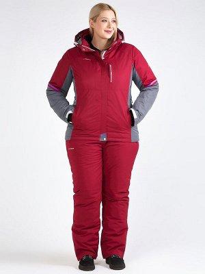 Женский зимний костюм горнолыжный большого размера бордового цвета 01934Bo