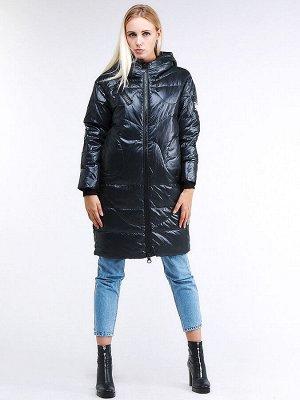 Женская зимняя молодежная куртка с капюшоном темно-зеленного цвета 9131_03TZ