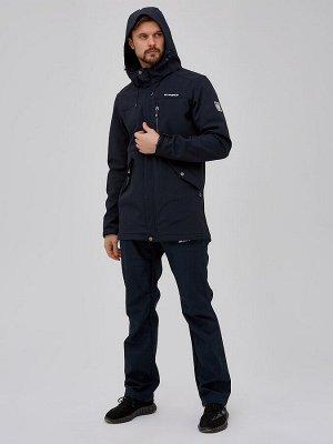 Мужской осенний весенний костюм спортивный softshell темно-синего цвета 02018TS