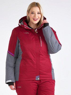 Женская зимняя горнолыжная куртка большого размера бордового цвета 1934Bo