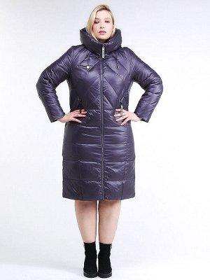 Женская зимняя классика куртка большого размера темно-фиолетового цвета 108-915_24TF
