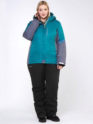 Женский зимний костюм горнолыжный большого размера зеленого цвета 01934Z