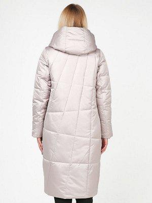 Женская зимняя молодежная куртка стеганная бежевого цвета 9163_28B