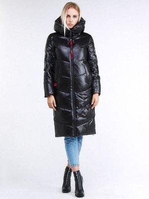 Женская зимняя молодежная куртка с капюшоном черного цвета 1969_01Ch