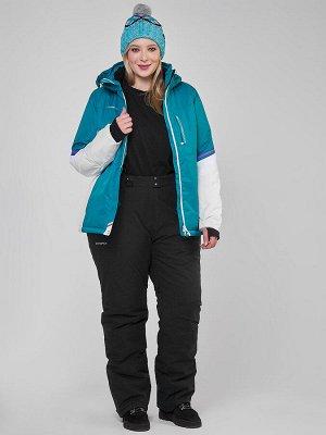 Женский зимний костюм горнолыжный большого размера бирюзового цвета 01934Br