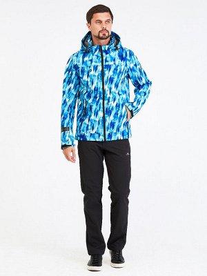 Мужской осенний весенний костюм спортивный softshell синего цвета 01915S