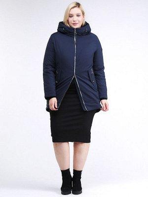 Женская зимняя классика куртка большого размера темно-синего цвета 86-801_16TS