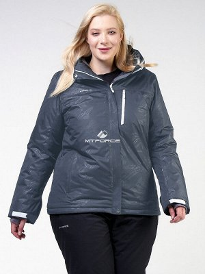 Женская зимняя горнолыжная куртка большого размера черного цвета 21982Ch