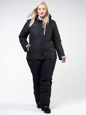 Женский зимний костюм горнолыжный большого размера черного цвета 011982Ch