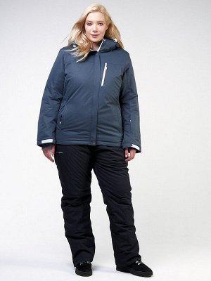 Женский зимний костюм горнолыжный большого размера темно-серого цвета 011982TC