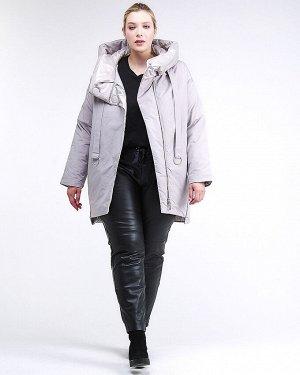 Женская зимняя молодежная куртка большого размера серого цвета 90-911_46Sr