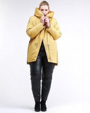 Женская зимняя молодежная куртка большого размера желтого цвета 90-911_56J