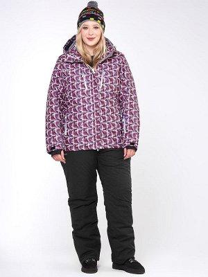 Женский зимний костюм горнолыжный большого размера малинового цвета 018112М