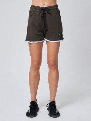 Спортивные женские шорты big size цвета хаки 212312Kh