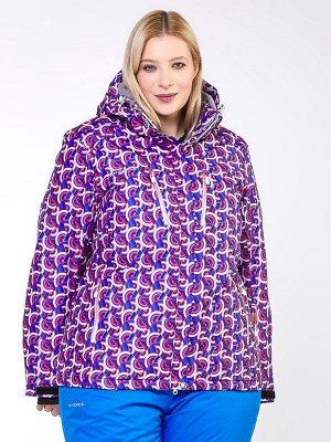 Куртка горнолыжная женская большого размера фиолетового цвета 18112F