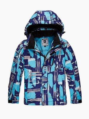 Подростковая для девочки зимняя горнолыжная куртка голубого цвета 1773Gl