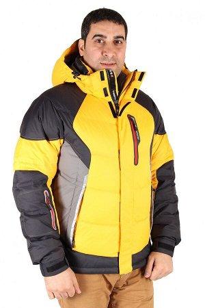 Мужской зимний пуховик желтого цвета 9855J