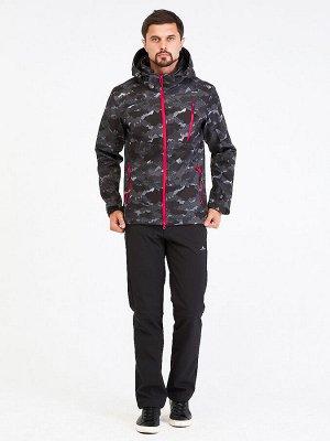 Мужской осенний весенний костюм спортивный softshell темно-серого цвета 01941-1TС