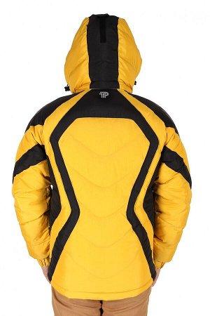 Мужская зимняя спортивная куртка желтого цвета 9455J