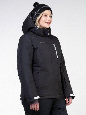 Женская зимняя горнолыжная куртка большого размера черного цвета 11982Ch