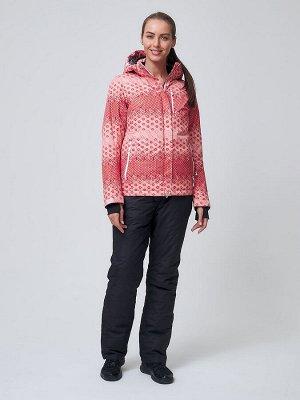 Костюм горнолыжный женский персикового цвета 01786P