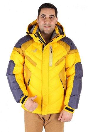 Мужская зимняя спортивная куртка желтого цвета 9453J