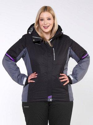 Женская зимняя горнолыжная куртка большого размера черного цвета 1934Ch