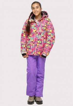 Подростковый для девочки зимний костюм горнолыжный розового цвета 01774-1R