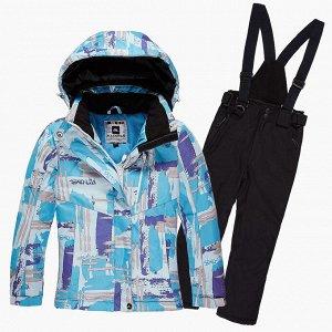 Подростковый для девочки зимний костюм горнолыжный голубого цвета 01774Gl