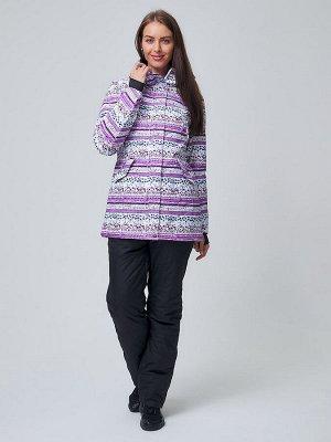 Женский зимний горнолыжный костюм фиолетового цвета 01937F
