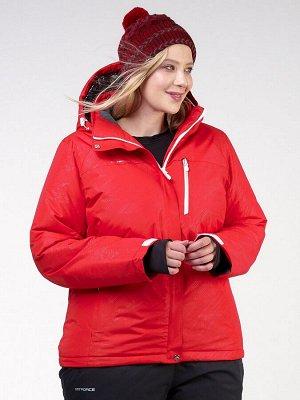 Женская зимняя горнолыжная куртка большого размера красного цвета 21982Kr